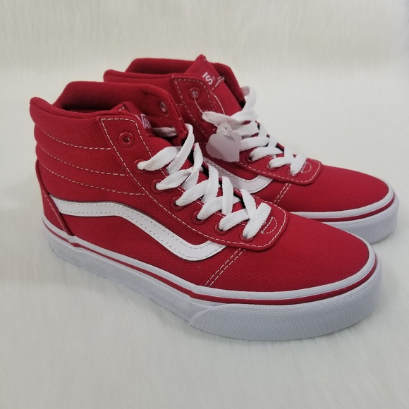 9d5535bb437 Vans Classic Ward Hi Top Red White Skate Shoe Kids